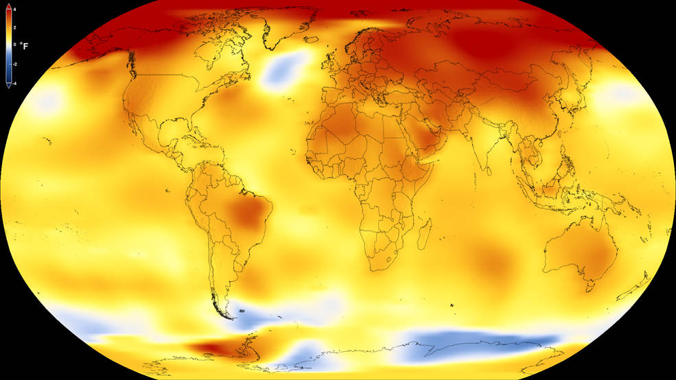 <p>This map shows Earth's average global temperature from 2013 to 2017, as compared to a baseline average from 1951 to 1980, according to an analysis by NASA's Goddard Institute for Space Studies. Yellows, oranges, and reds show regions warmer than the baseline. (NASA's Scientific Visualization Studio)</p>