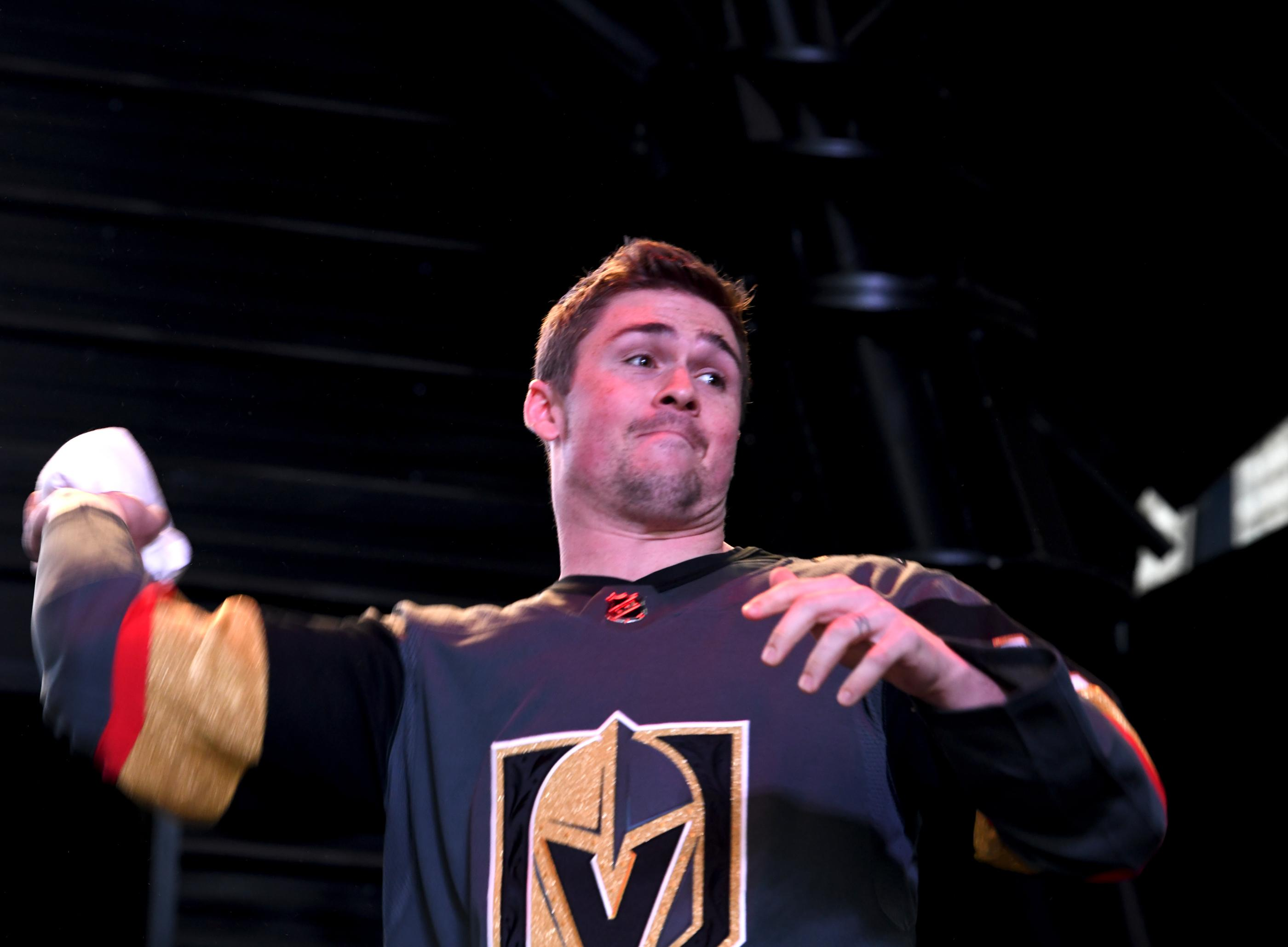 The Golden Knights host a Fan Fest with the D Las Vegas and Fremont Street Experience. Las Vegas Golden Knights player Ryan Carpenter prepares to throw a t-shirt to fans as the team takes the stage at Fremont Street Experience. Sunday, January 14, 2017. CREDIT: Glenn Pinkerton/Las Vegas News Bureau