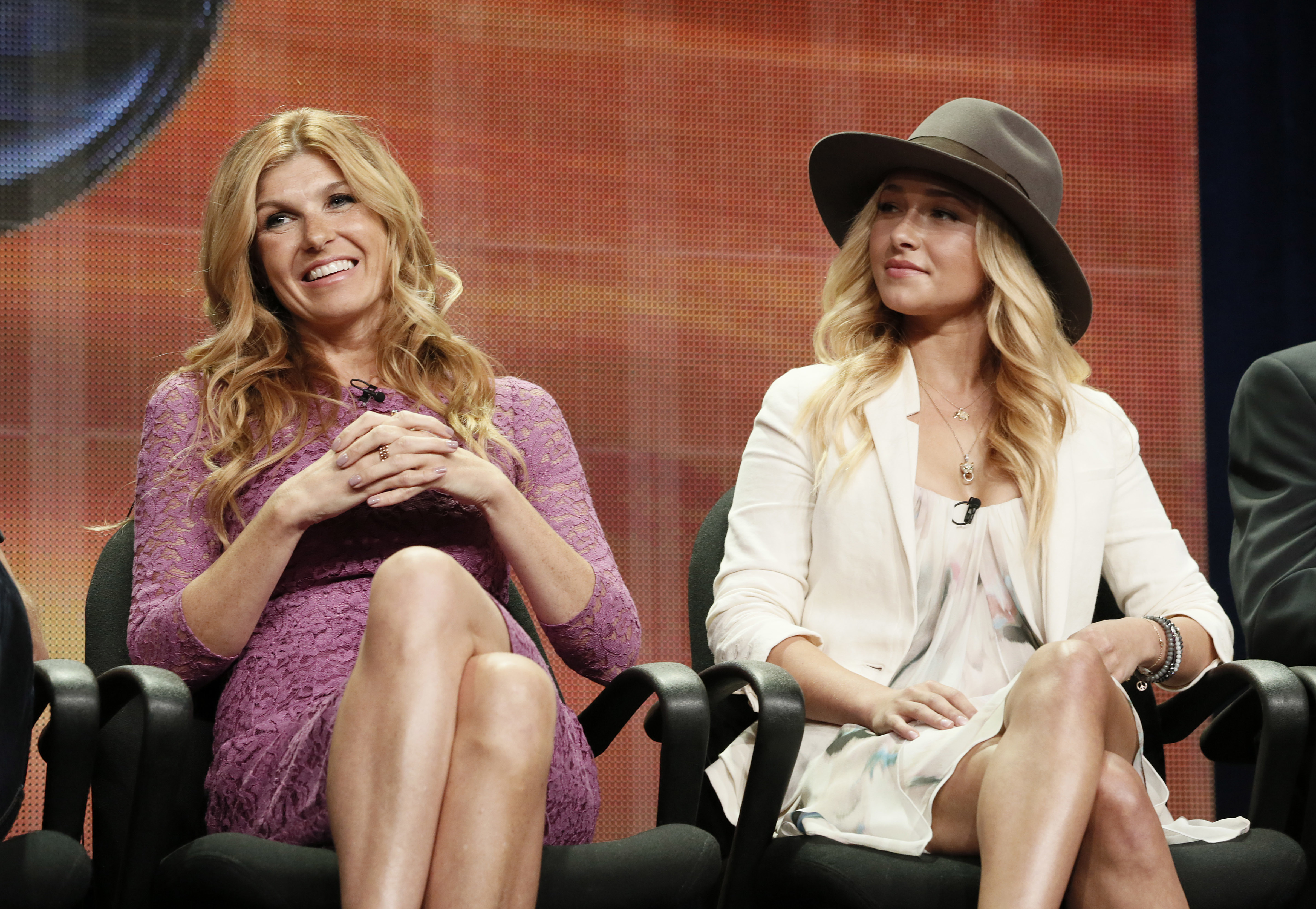 FILE - In this July 27, 2012 file photo, cast members Connie Britton and Hayden Panettiere attend the &quot;Nashville&quot; panel at the Disney ABC TCA in Beverly Hills, Calif. (Photo by Todd Williamson/Invision/AP, File)<p></p>