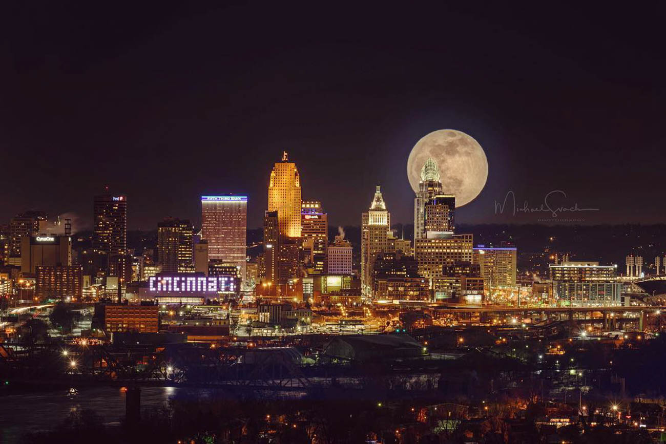 Two separate images were taken to create this spectacular view of the city with the moon hanging behind it. / Image courtesy of Instagram user @msvachphotography // Published: 3.20.19