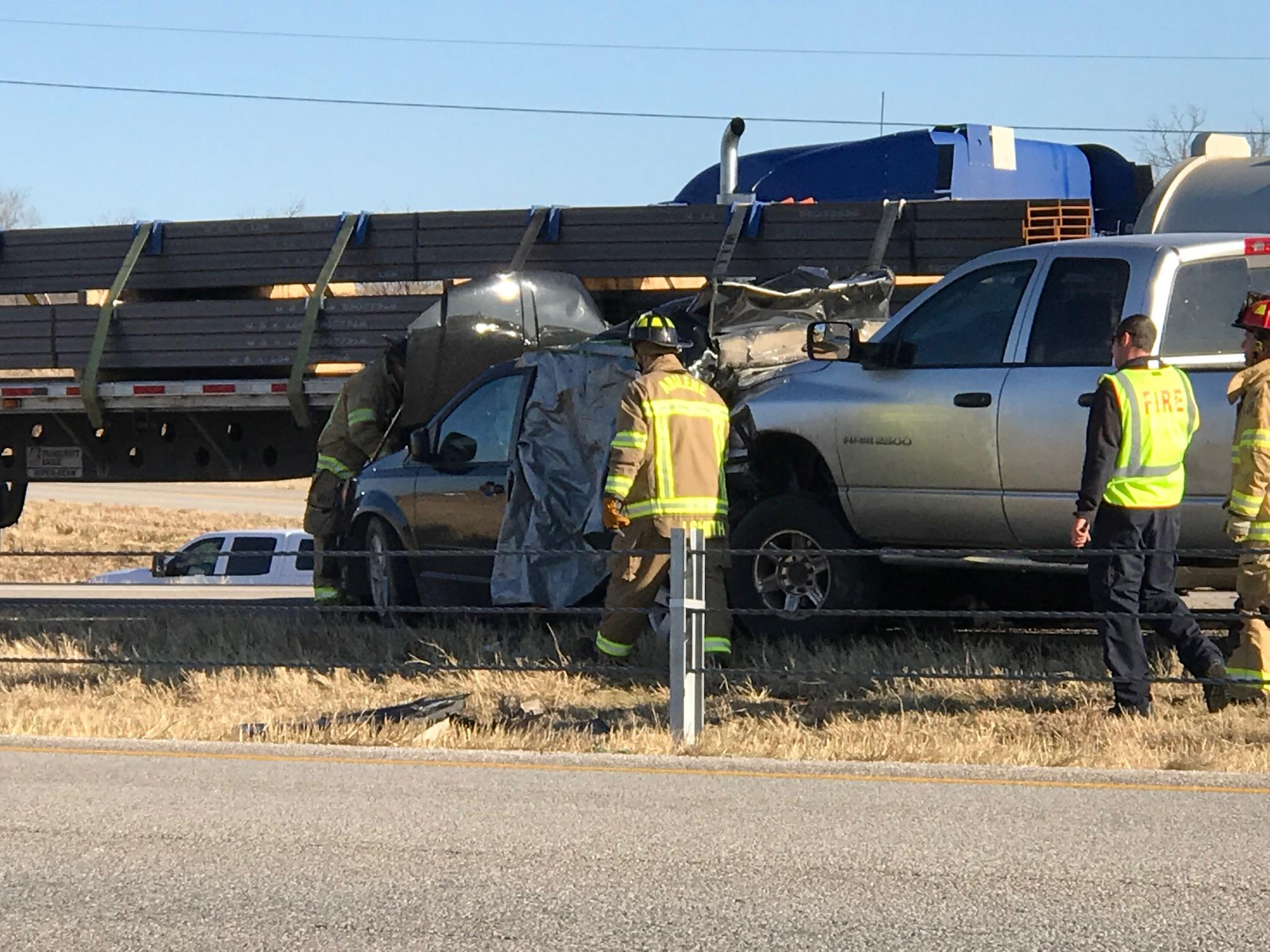 At least one person is dead after an accident involving four vehicles and an 18-wheeler on westbound I-20 in Abilene.