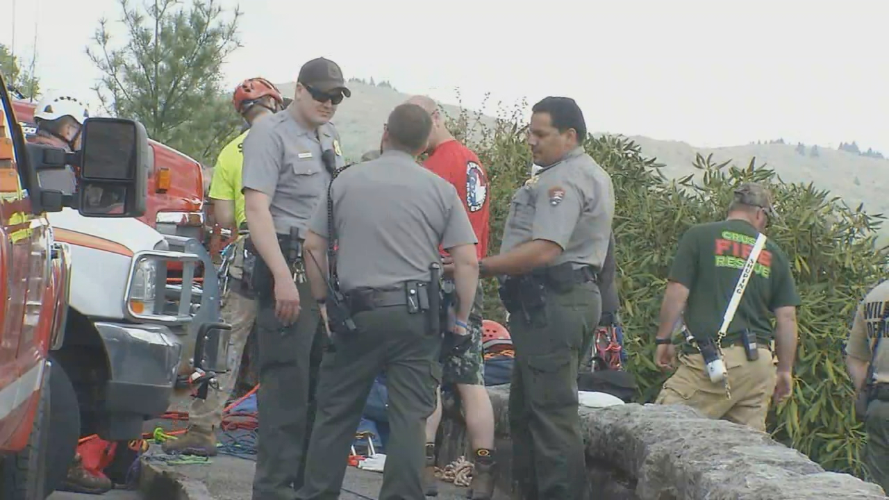 The National Park Service respond to an incident at the East Fork Overlook along the Blue Ridge Parkway on Friday. (Photo credit: WLOS Staff)
