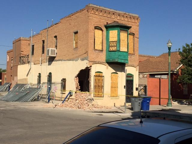 Demolition tear chunks out of some buildings in Duranguito Monday morning despite court order. (Photo: KFOX14/CBS4)