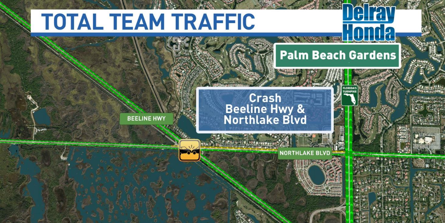 Vehicle crash shuts down multiple lanes on Beeline Highway. (WPEC)