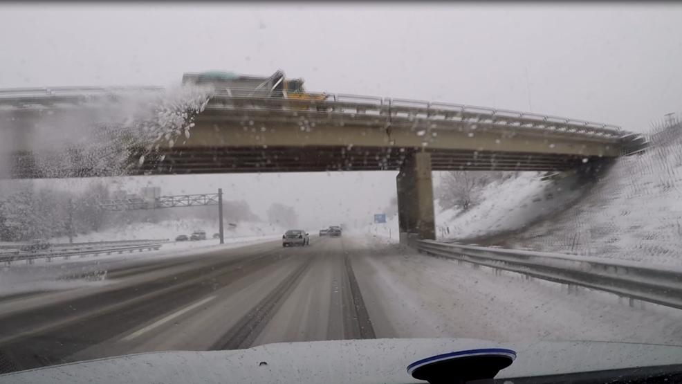 snow dumped from plow on overpass breaks windshield wwmt