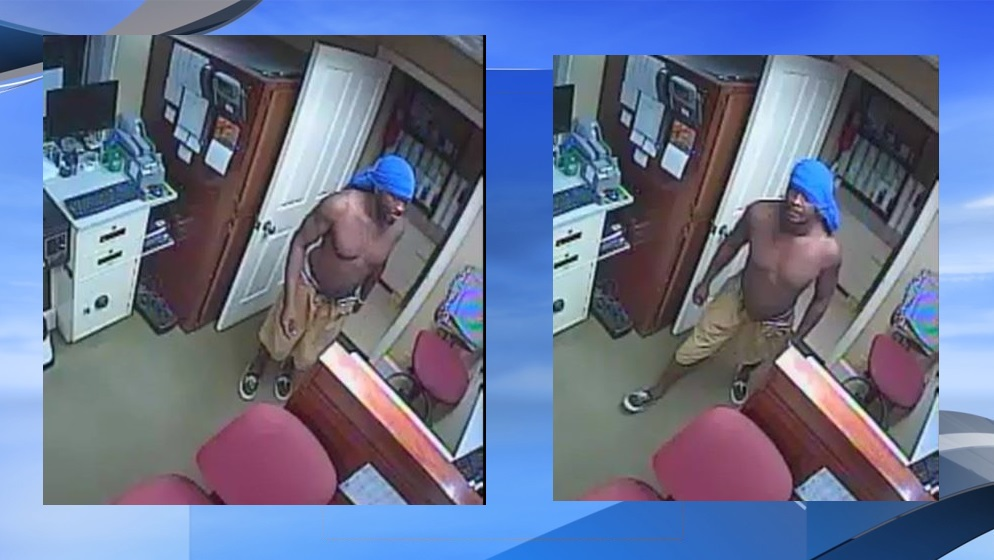 The man who reportedly broke into the Anderson Brother's Bank on Saturday, Oct. 14. (Georgetown Police Department photos. WPDE background)<p></p>