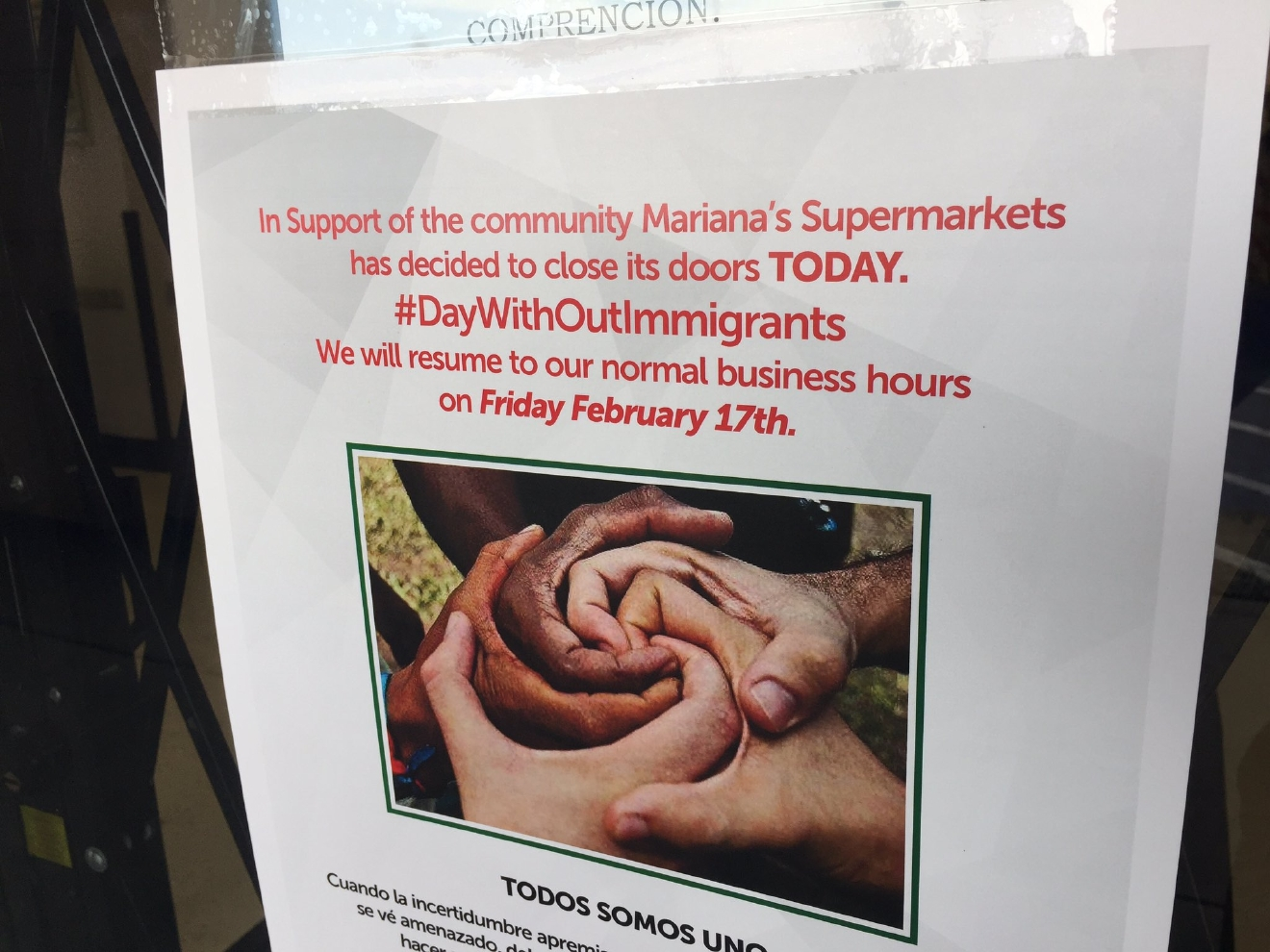 Sign on the door of Mariana's Supermarkets; four locations closed today for A Day Without Immigrants. 2/16/17 (Jeff Gillan | KSNV)