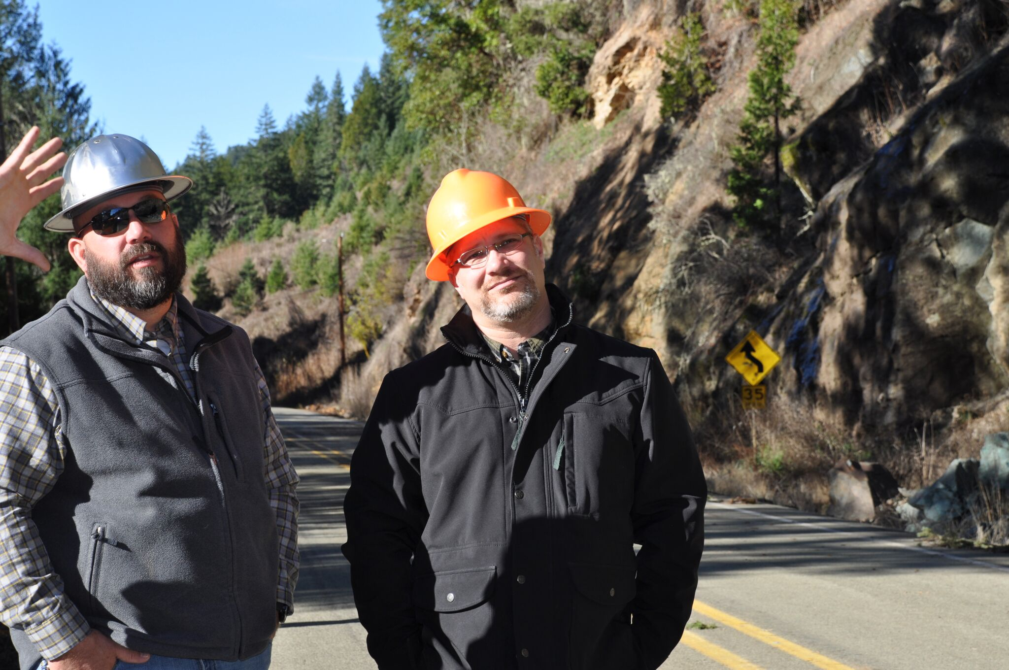 Rock slide closes Little River Road.{ }Douglas County Commissioner Chris Boice (l), and Douglas County Public Works Director Scott Adams (r). (Photo courtesy Douglas County)