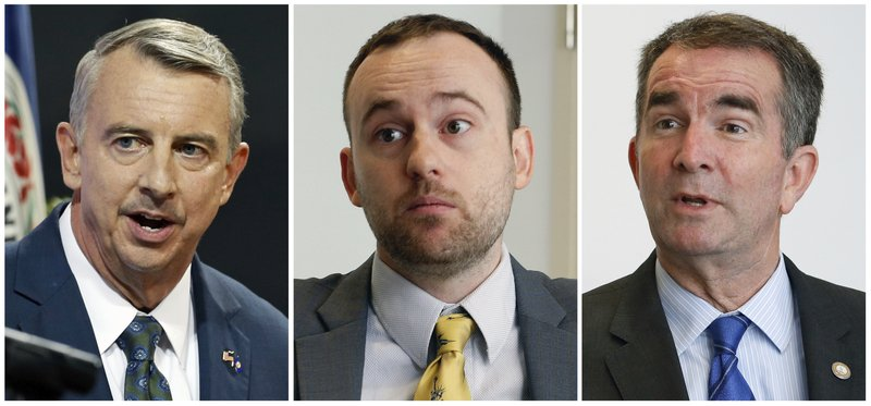 In this combination photo, Republican gubernatorial candidate, Ed Gillespie appears at a debate at the University of Virginia-Wise in Wise, Va., Oct. 9, 2017, left, Libertarian candidate for Virginia governor Cliff Hyra appears during an interview in Richmond, Va., on Sept. 18, 2017, and Democratic gubernatorial candidate Lt. Gov. Ralph Northam appears during an interview in Richmond, Va., on Sept. 18, 2017. Virginia has the nation's only competitive governor's race this year and it could be an early referendum on President Donald Trump's popularity ahead of the 2018 midterm elections (AP Photo/Steve Helber, file)<p></p>