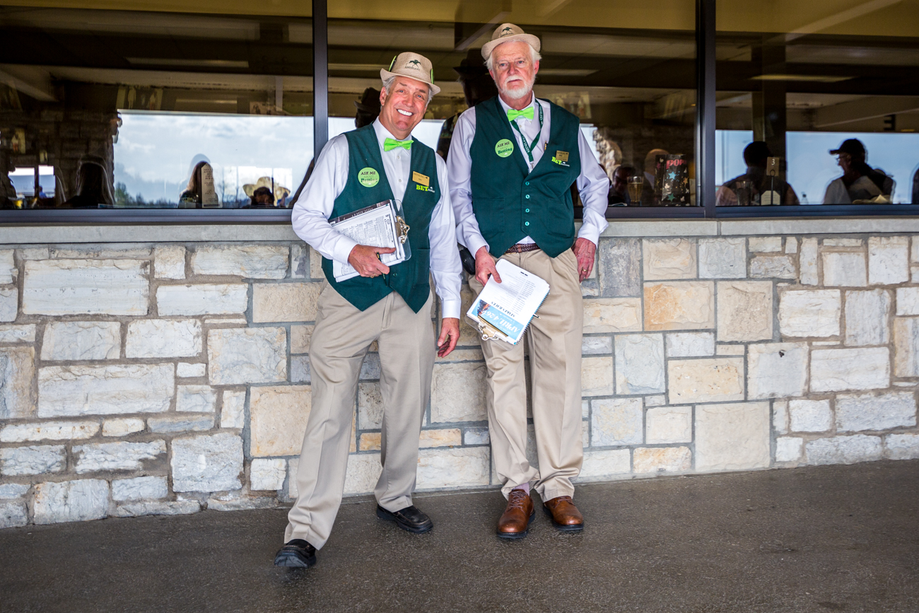"The ""Green Coats"" are on hand to help answer questions about betting at Keeneland. / Image courtesy of Catherine Viox // Published:{ }4.12.19"
