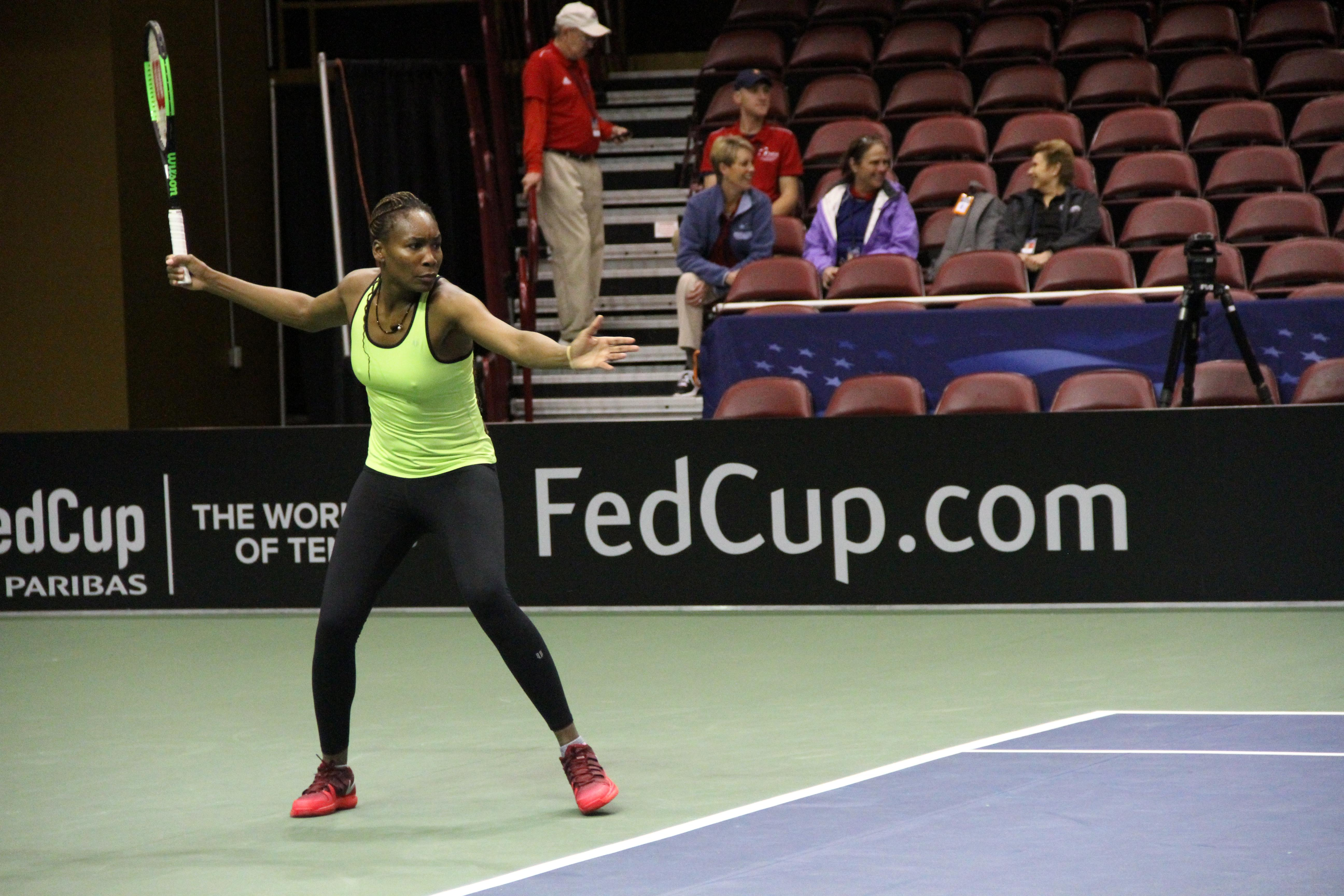 Venus Williams practices at the US Cellular Center on Feb. 7, 2018, ahead of the Fed Cup. (Photo credit: WLOS Staff)
