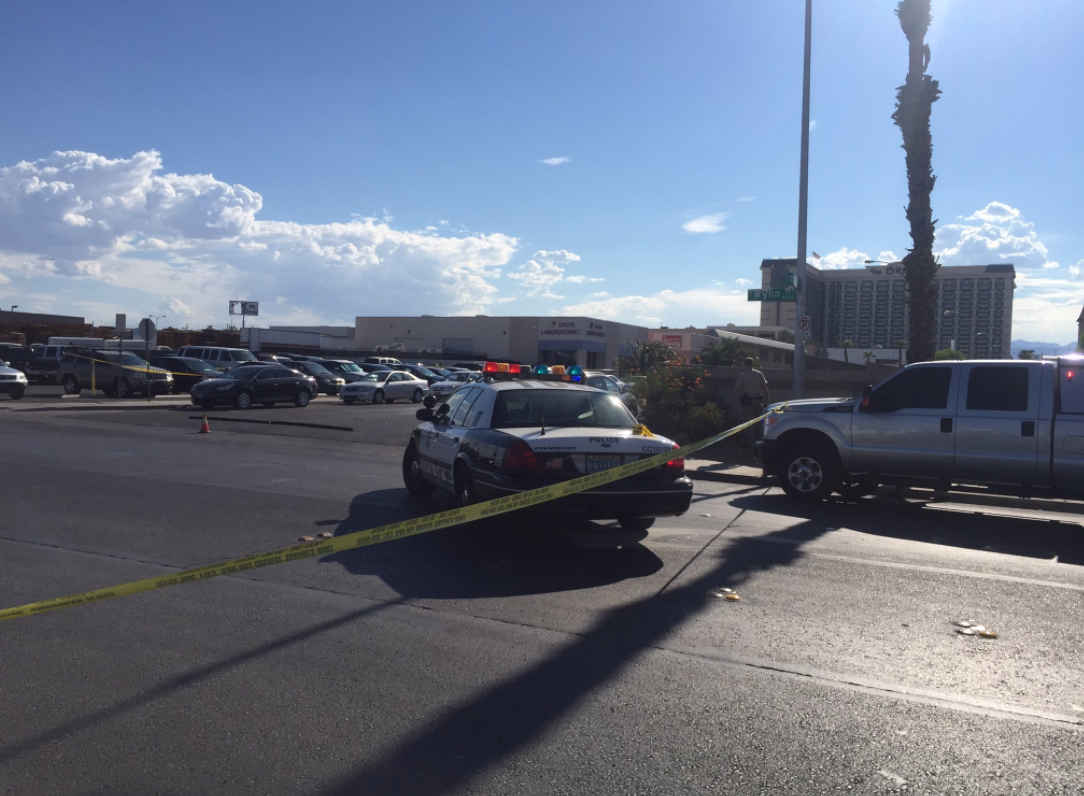 An LVMPD officer has been injured in a shooting near Tropicana and Arville. (John Treanor | KSNV)