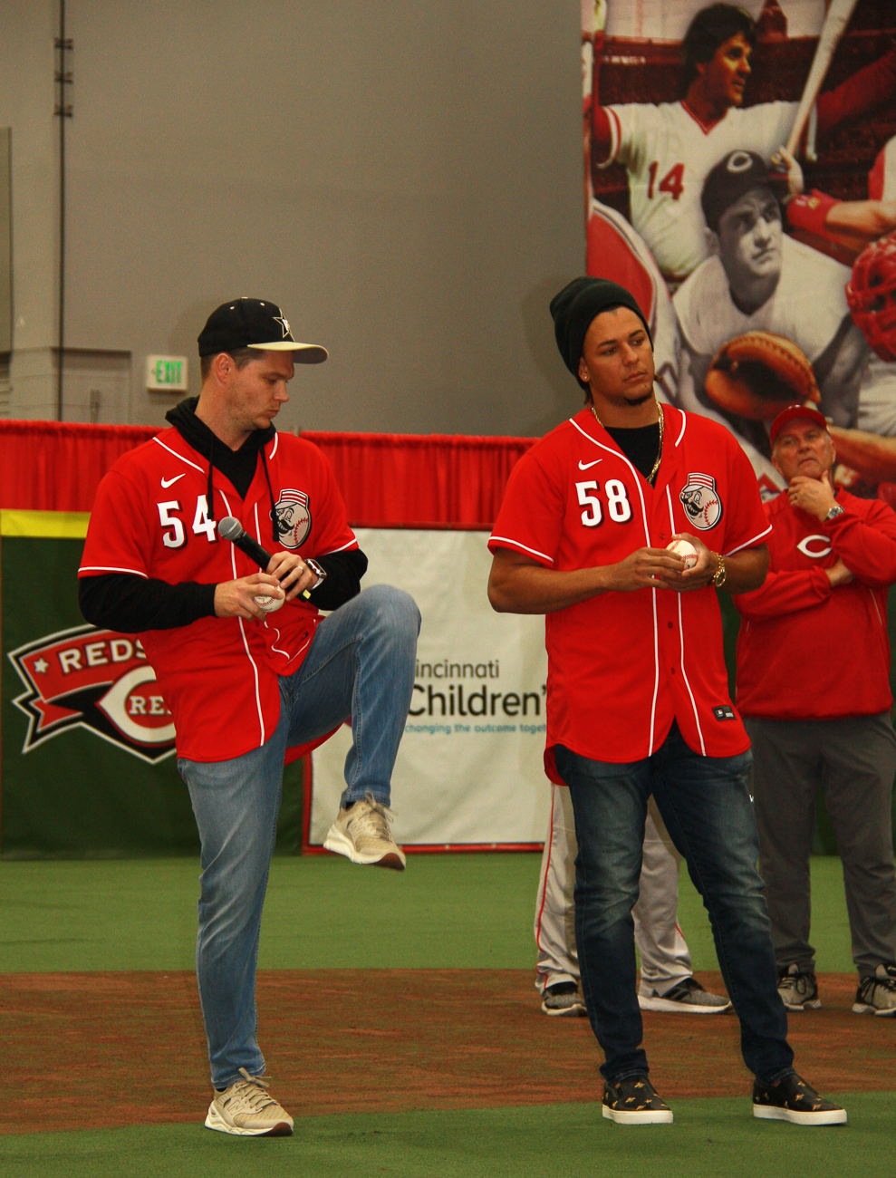 Sonny Gray, pitcher #54, and Luis Castillo, pitcher #58