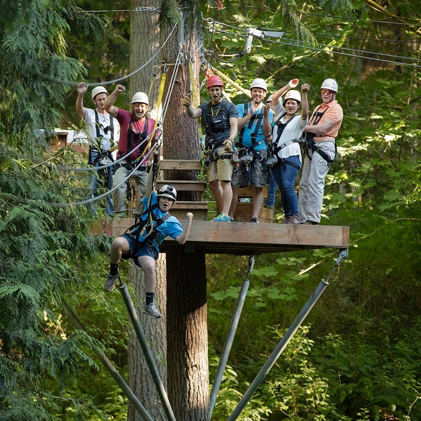 The 134-acre property originally operated as a dairy farm and today is the site of Canopy Tours Northwest's six-section zip lines that fly over a lush, green forest while also growing hay, pumpkins and culinary lavender. They have a Night Owl zip line through October 29th which provides spooky fun! Tours begin at dusk and you'll fly through the forest under dim lights for a totally unique experience. (Image: Canopy Tours Northwest)<p></p>
