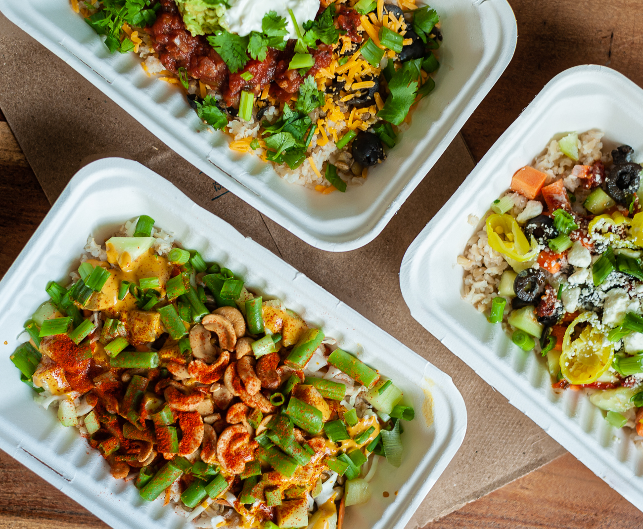<p>Fiesta Bowl, The Mediterranean Bowl, and the Spicy Thai Bowl / Image: Kellie Coleman // Published: 12.27.20</p>