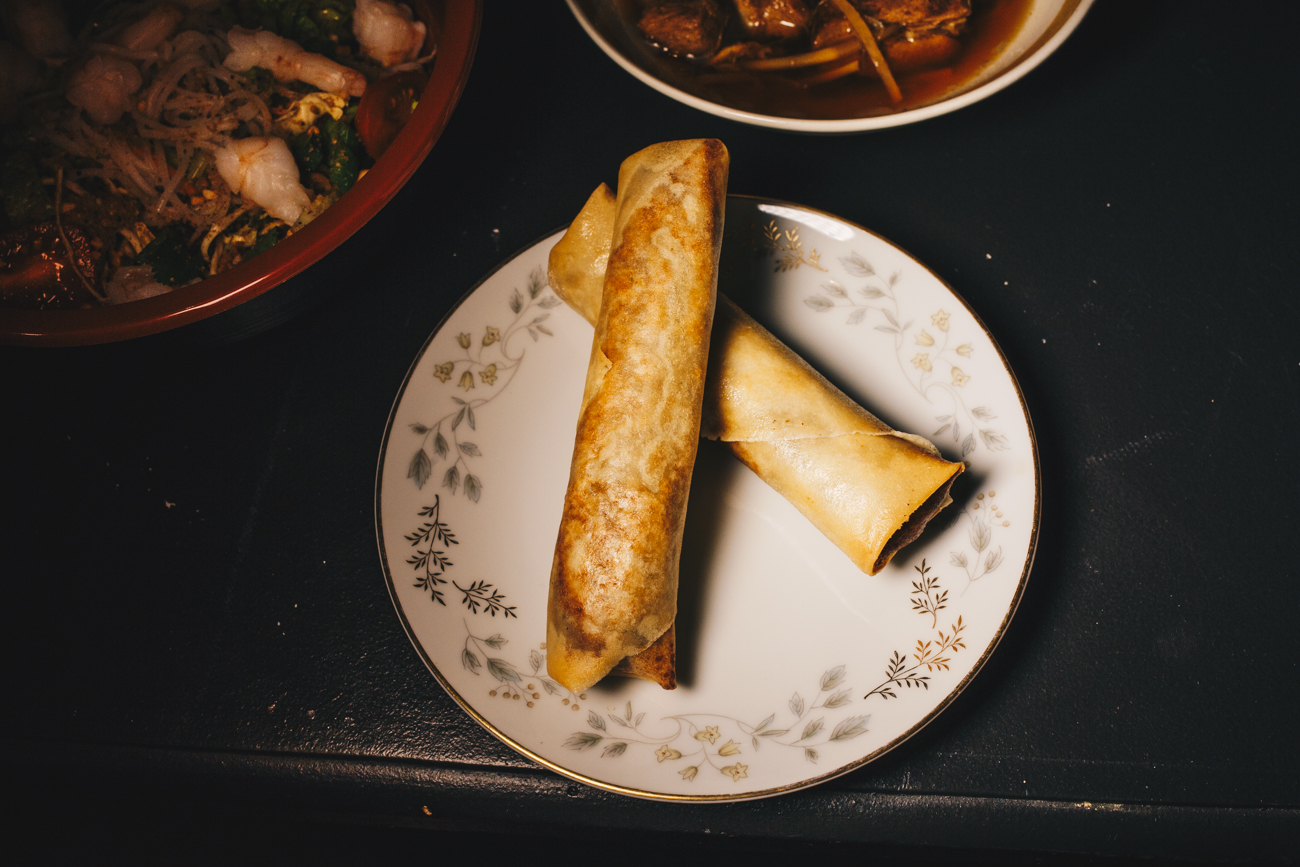 Veggie Khmer egg rolls: cabbage, carrots, potatoes, portobello mushrooms, and vermicelli noodles rolled in rice paper / Image: Catherine Viox // Published: 2.24.19