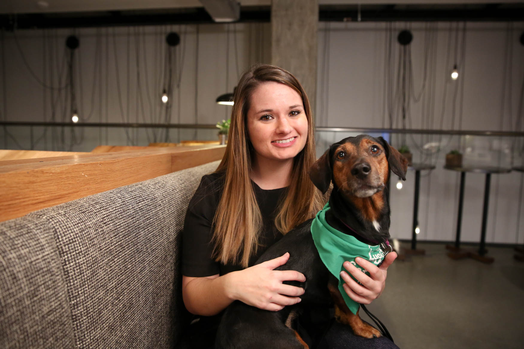 Meet Kirk and Brittany, a 5-year-old Dachshund mix{ } and a 32-year-old human respectively. Photo location: Moxy Washington, D.C. Downtown (Image: Amanda Andrade-Rhoades/ DC Refined)