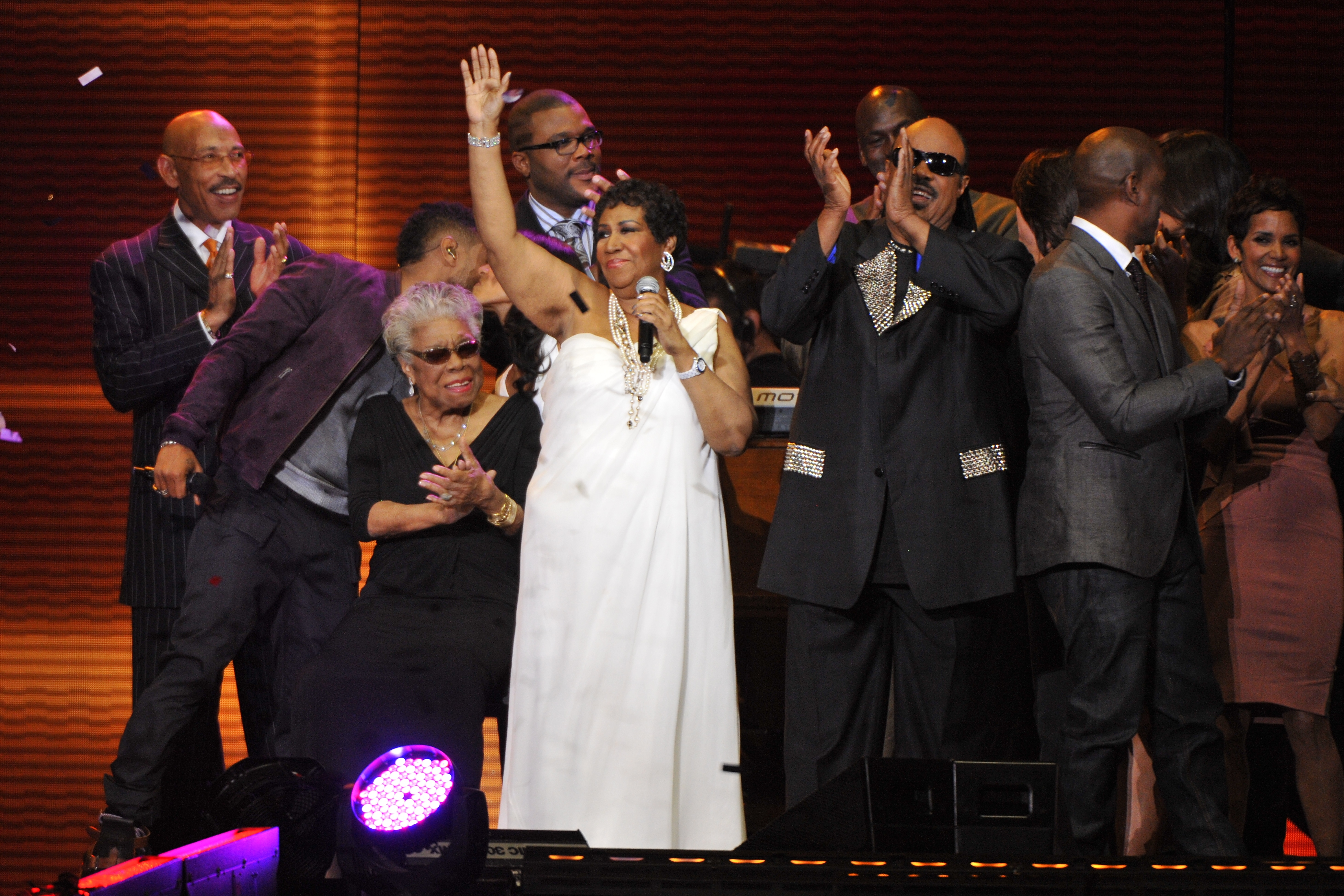 Aretha Franklin,{ }Stevie Wonder and several others during 'Surprise Oprah! A Farewell Spectacular' at the United Center in Chicago, Illinois. (When: May 17 2011. Credit: Ray Garbo/WENN.com)