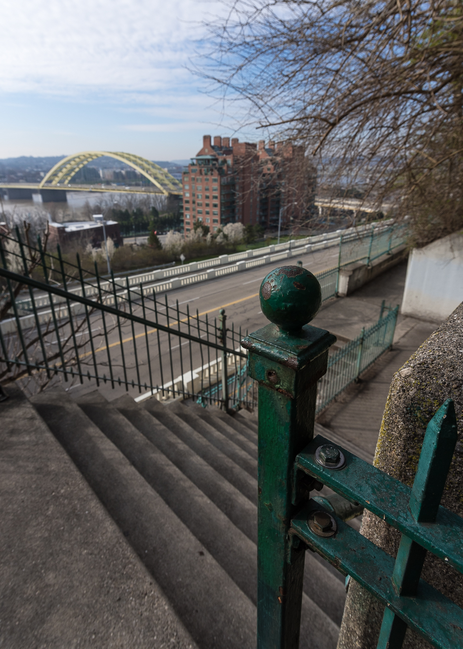 Once across the pedestrian bridge, the stairs ascend to a landing where the climb into Mt. Adams begins its final stretch. / Image: Phil Armstrong, Cincinnati Refined // Published: 4.13.18