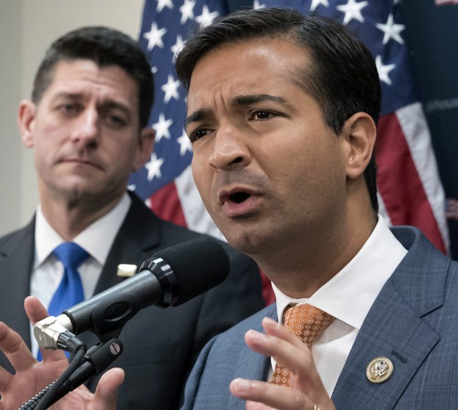 {&amp;nbsp;}Rep. Carlos Curbelo, R-Fla., right, stands with Speaker of the House Paul Ryan, R-Wis., left, discussing the GOP agenda for tax reform during a news conference on Capitol Hill in Washington. Curbelo is one of two people who will be honored with the John F. Kennedy New Frontier Awards, Thursday evening, Nov. 16, 2017, at Harvard University's Kennedy School of Government in Cambridge, Mass. (AP Photo/J. Scott Applewhite, File)<br>