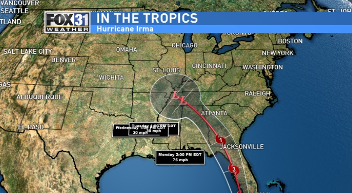 The latest forecast track takes Irma northward over the far western part of the Florida Peninsula and into Southwest Georgia as a Category 1 hurricane. Hurricane and Tropical Storm Warnings are now in effect for most of Southwest Georgia. /FOX 31
