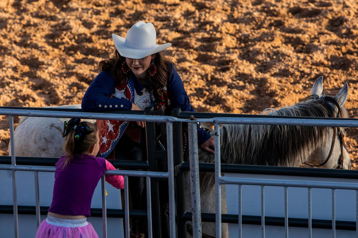 Riders chat with fans during day one of the Las Vegas Days Rodeo at the Plaza Hotel CORE Arena on Friday May 10, 2019. Las Vegas Days, formerly known as Helldorado Days, is an annual cowboy-themed event celebrating Las Vegas? tribute to the Wild West. CREDIT: Joe Buglewicz/Las Vegas News Bureau