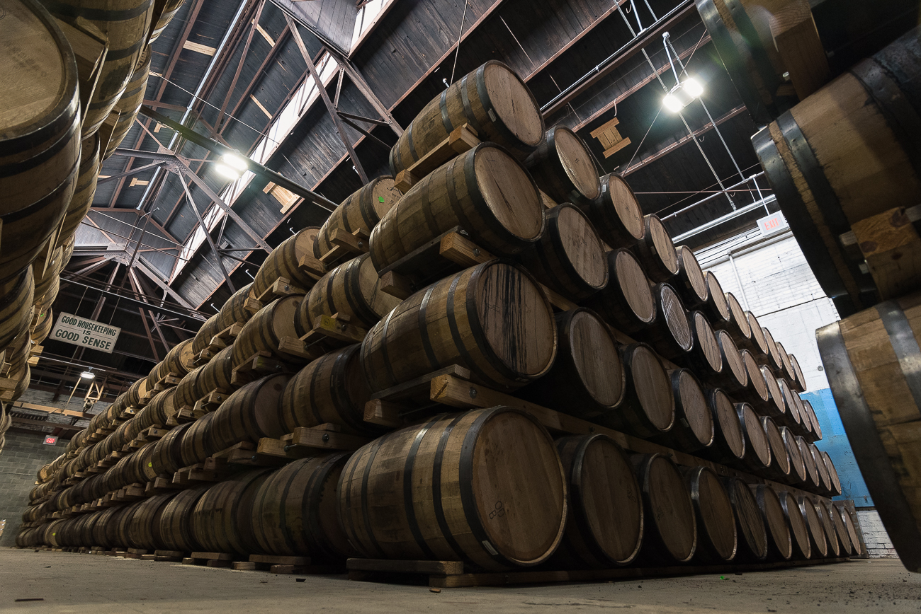 "The barrelhouse has 3600 barrels of product stored within it. It uses the ""stow"" method of stacking, which is a Scottish style of stacking the barrels onto themselves to conserve space. / Image: Phil Armstrong, Cincinnati Refined // Published: 12.4.17"