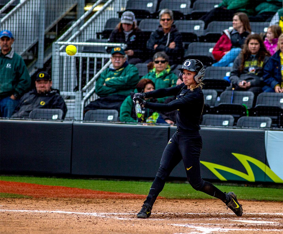 The Duck's Alexis Mack (#10) swings for the ball. The Oregon Ducks defeated the Cal Golden Bears 2-1 in the second game of the three game series. Photo by August Frank, Oregon News Lab