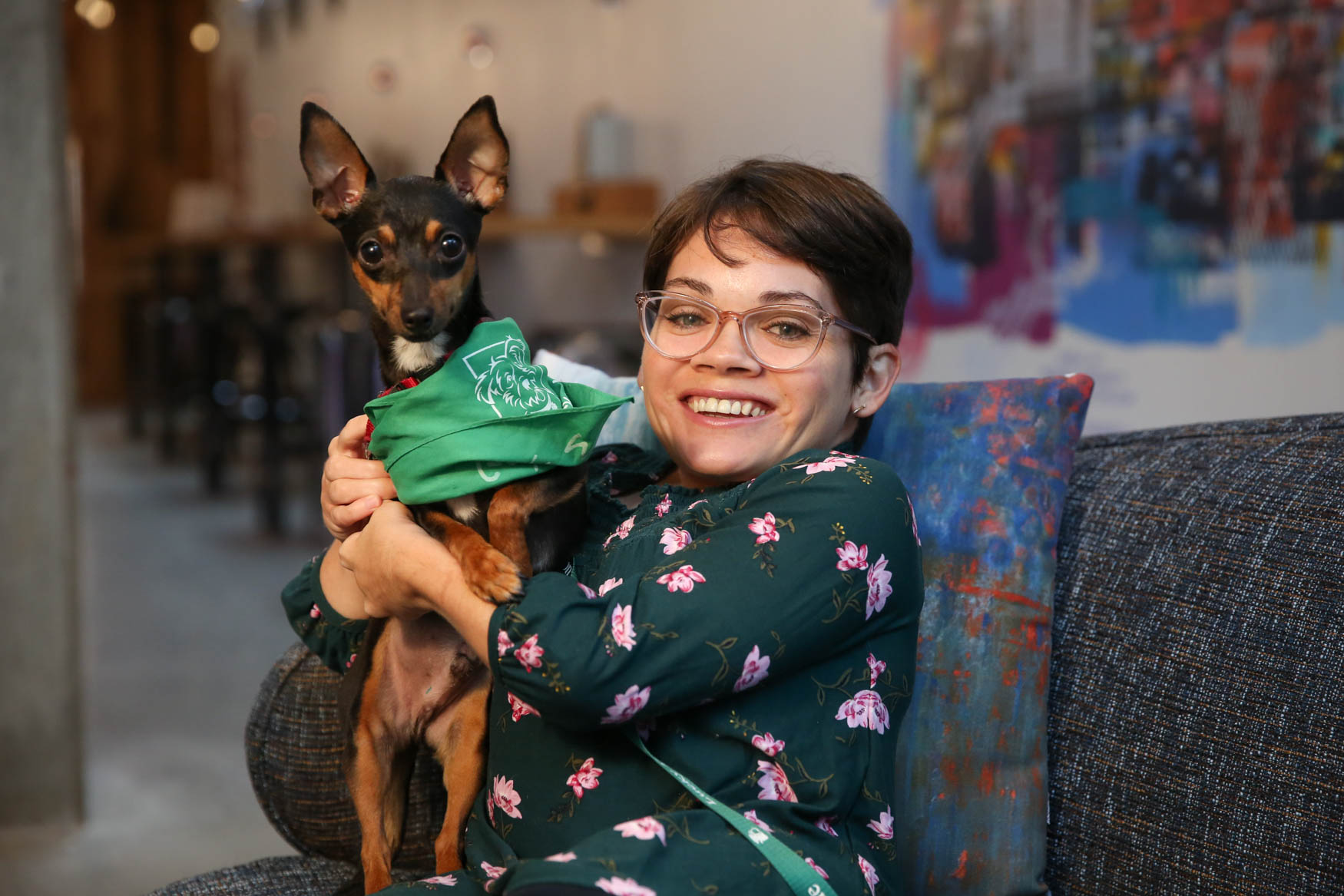 The good news is Sherman was ADOPTED right after our shoot! Photo location: Moxy Washington, D.C. Downtown (Image: Amanda Andrade-Rhoades/ DC Refined)