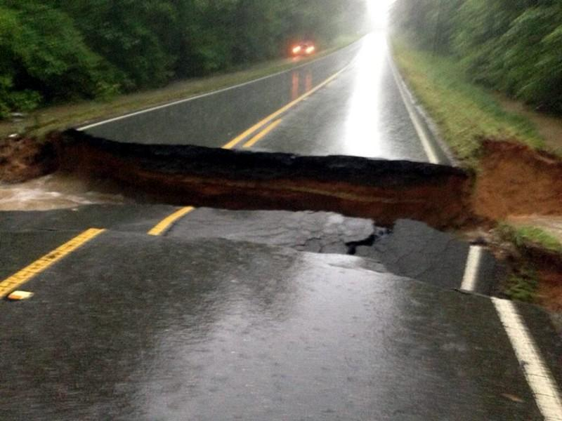 Able Road in Dellta, AL washed out by flash flooding. Photo from @kdewrell