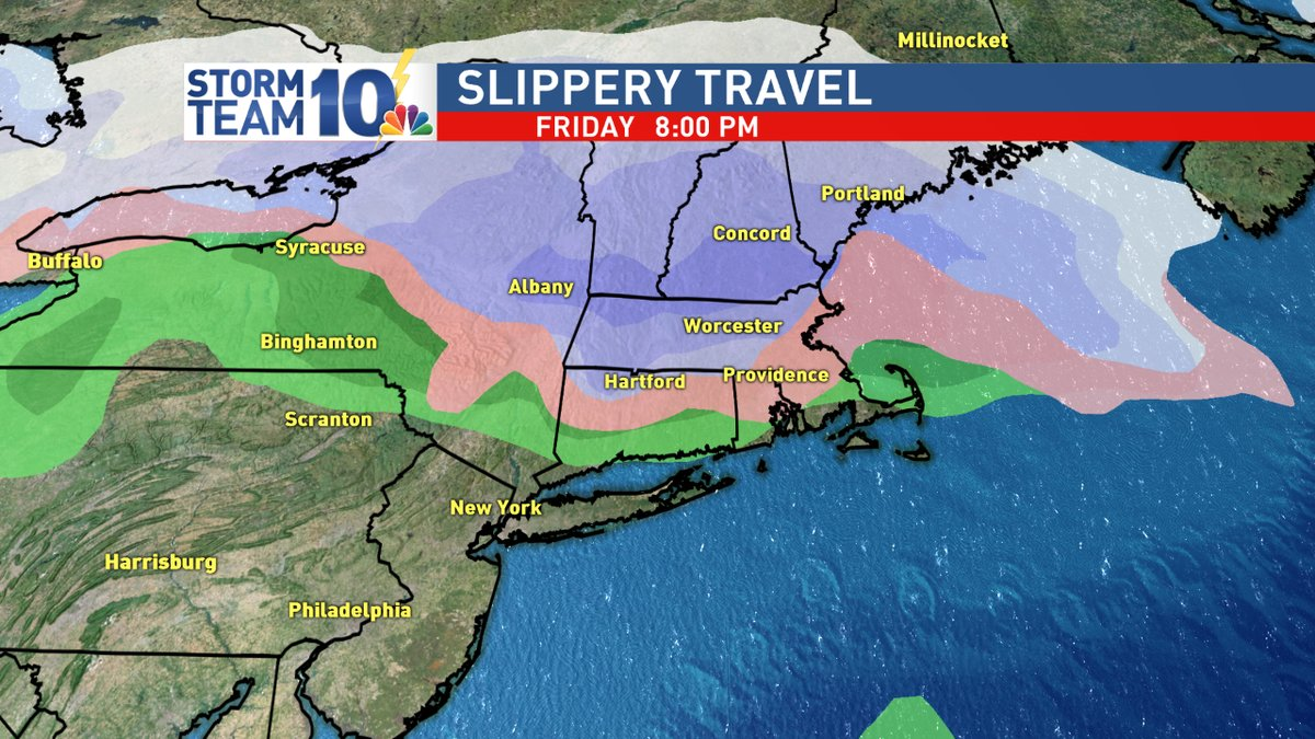 Friday evening COULD feature slippery travel for inland areas<p></p>