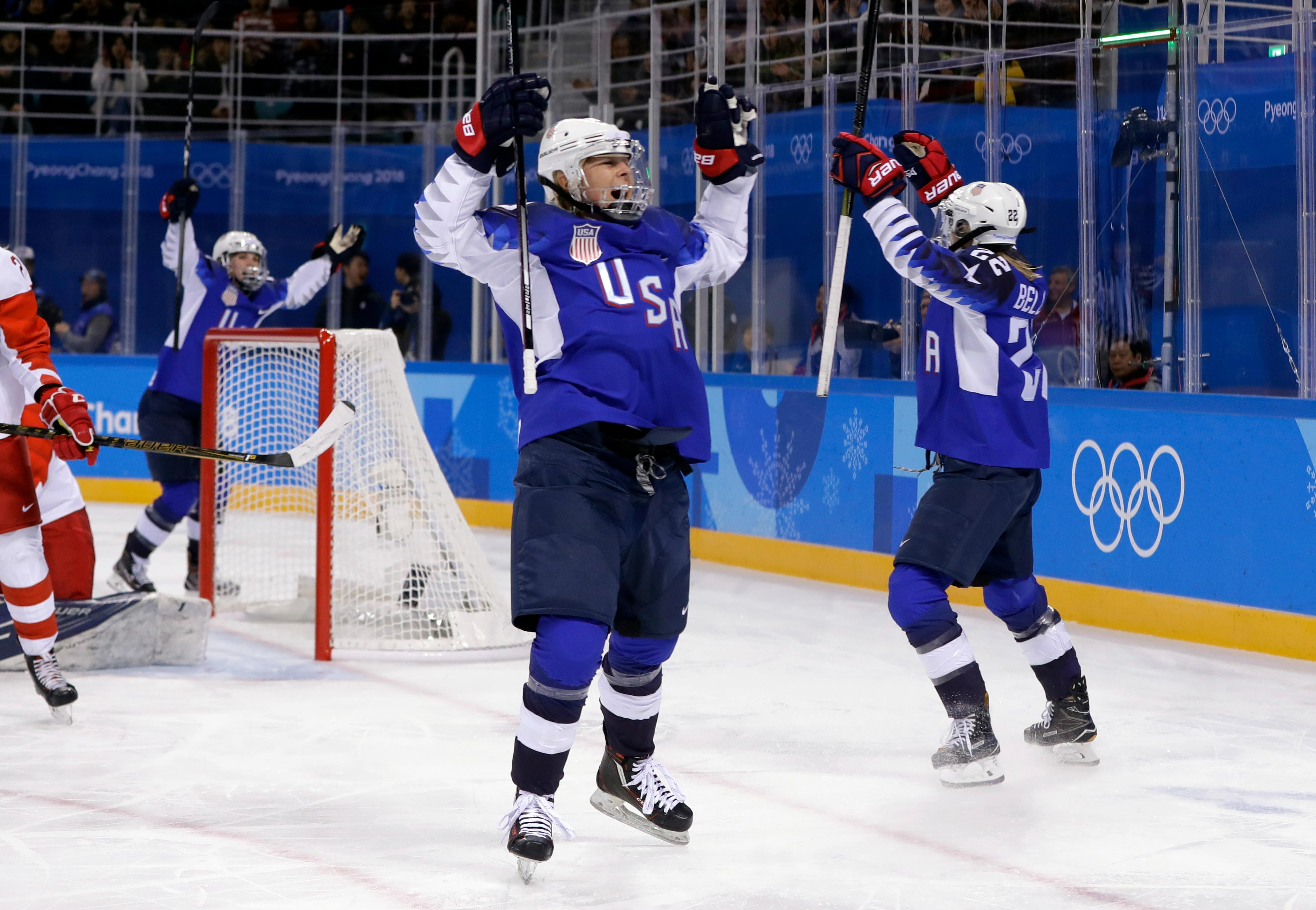 Players from the United States celebrate after Kacey Bellamy scores a goal against the team from Russia during the first period of the preliminary round of the women's hockey game at the 2018 Winter Olympics in Gangneung, South Korea, Tuesday, Feb. 13, 2018. (AP Photo/Matt Slocum)