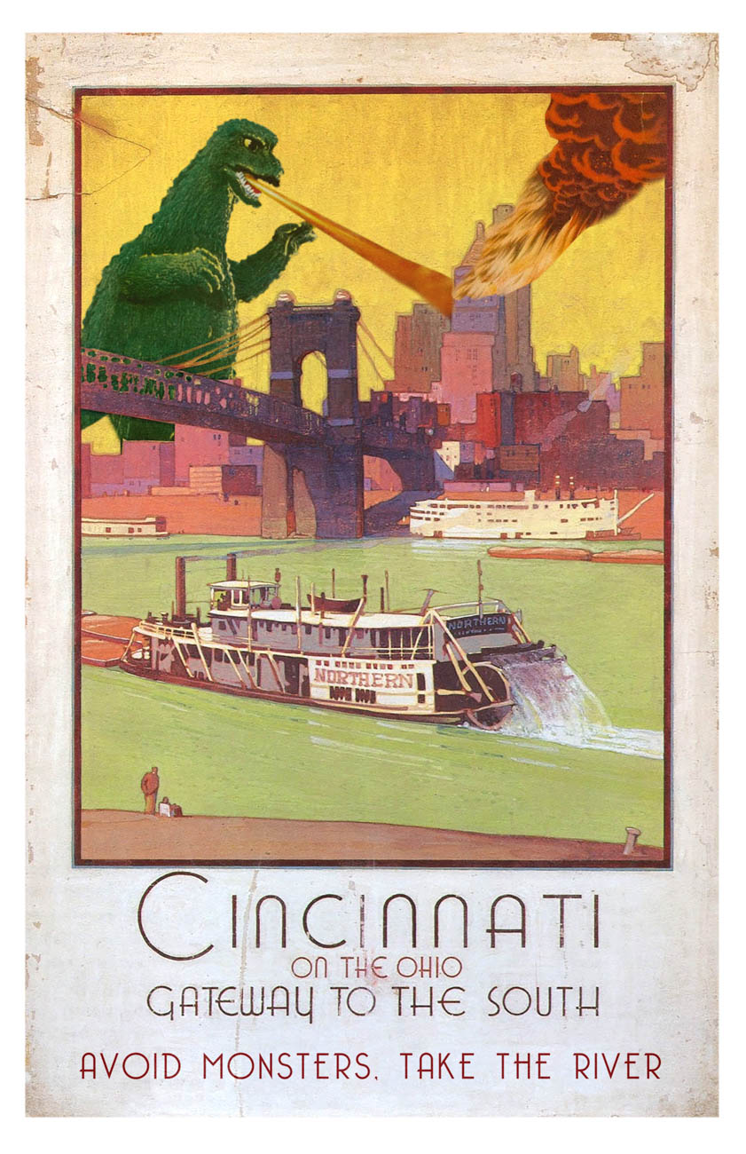 "Cincinnati, Gateway to the South: ""Due to the prominence of steamships and industry along the Ohio river, Cincinnati began to advertise itself as the Gateway to the South for both tourism and industry. The decision was twofold: it not only made good use of the burgeoning river industry, but also provided a safe alternative to the giant monsters who decimated the city's skyline on a regular basis."" / Image courtesy of Matt Buchholz, Alternate Histories // Published: 6.19.19"