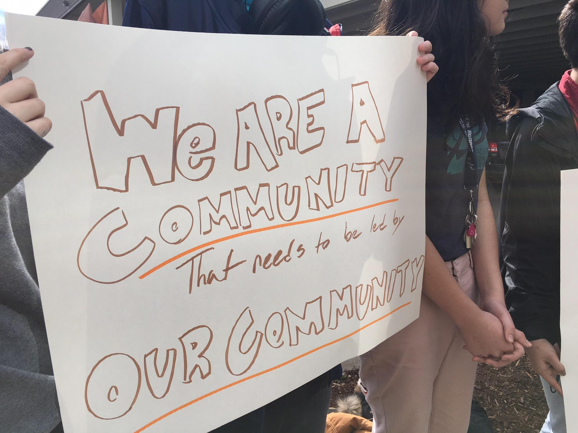 Students from the Academy of Arts and Academics in Springfield held a protest outside the Springfield School District, voicing their concerns about the district's decision to revoke A3's charter on June 30. (SBG)