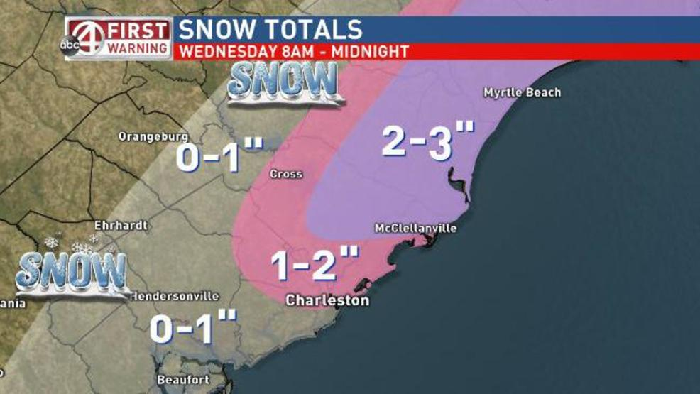 Charleston Weather Areas North Of Likely To Get Most Snow Wednesday