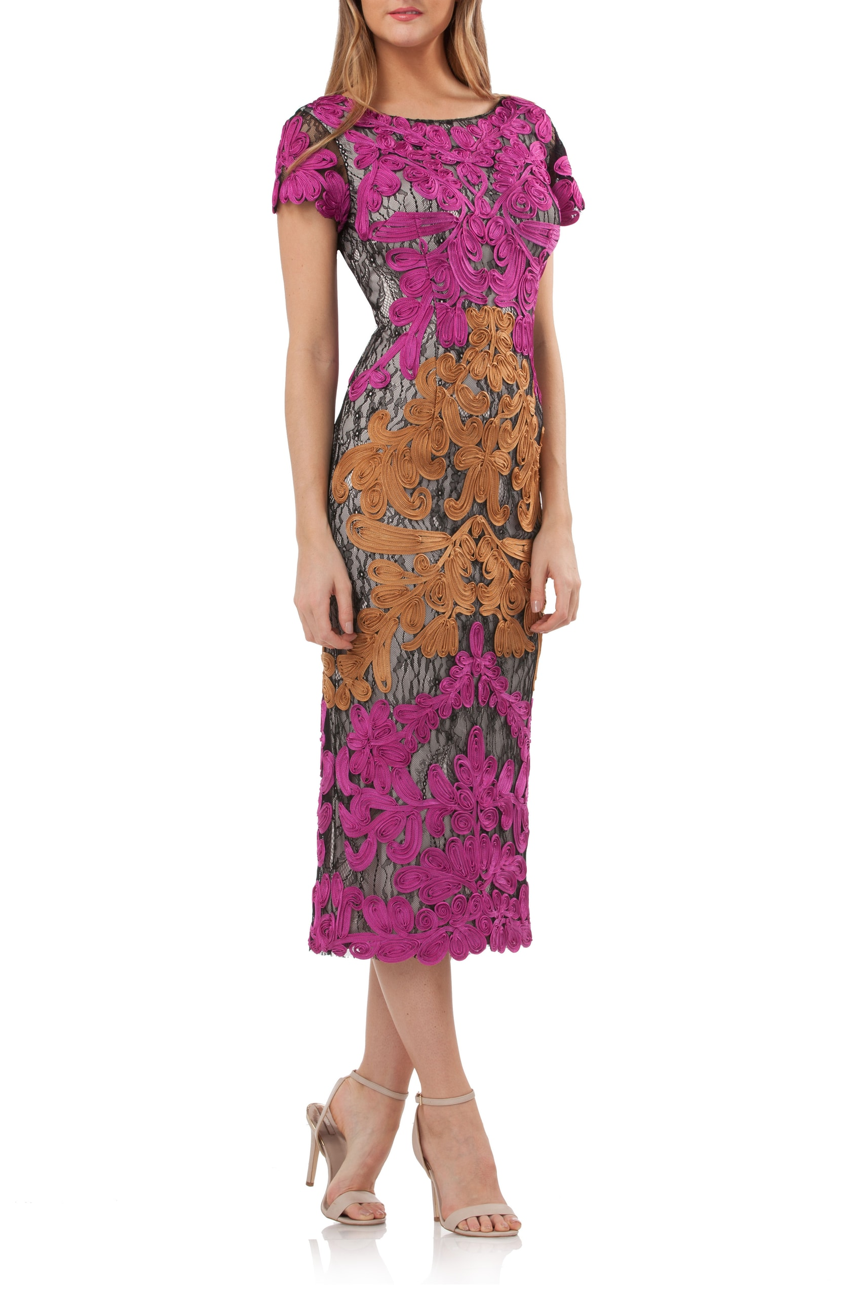 The Trend: Magenta.{&nbsp;} Soutache appliqué scrolls over the bonded-lace foundation of this long, lavish cocktail sheath. It has the perfect pop of magenta color to steal the show. JS COLLECTIONS - $348.00<p>(Image: Nordstrom){&nbsp;}</p>
