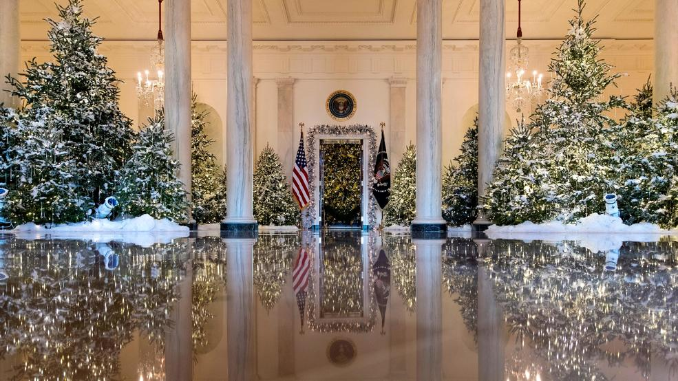 the grand foyer and cross hall are decorated with the nutcracker suite theme during a media preview of the 2017 holiday decorations at the white house in