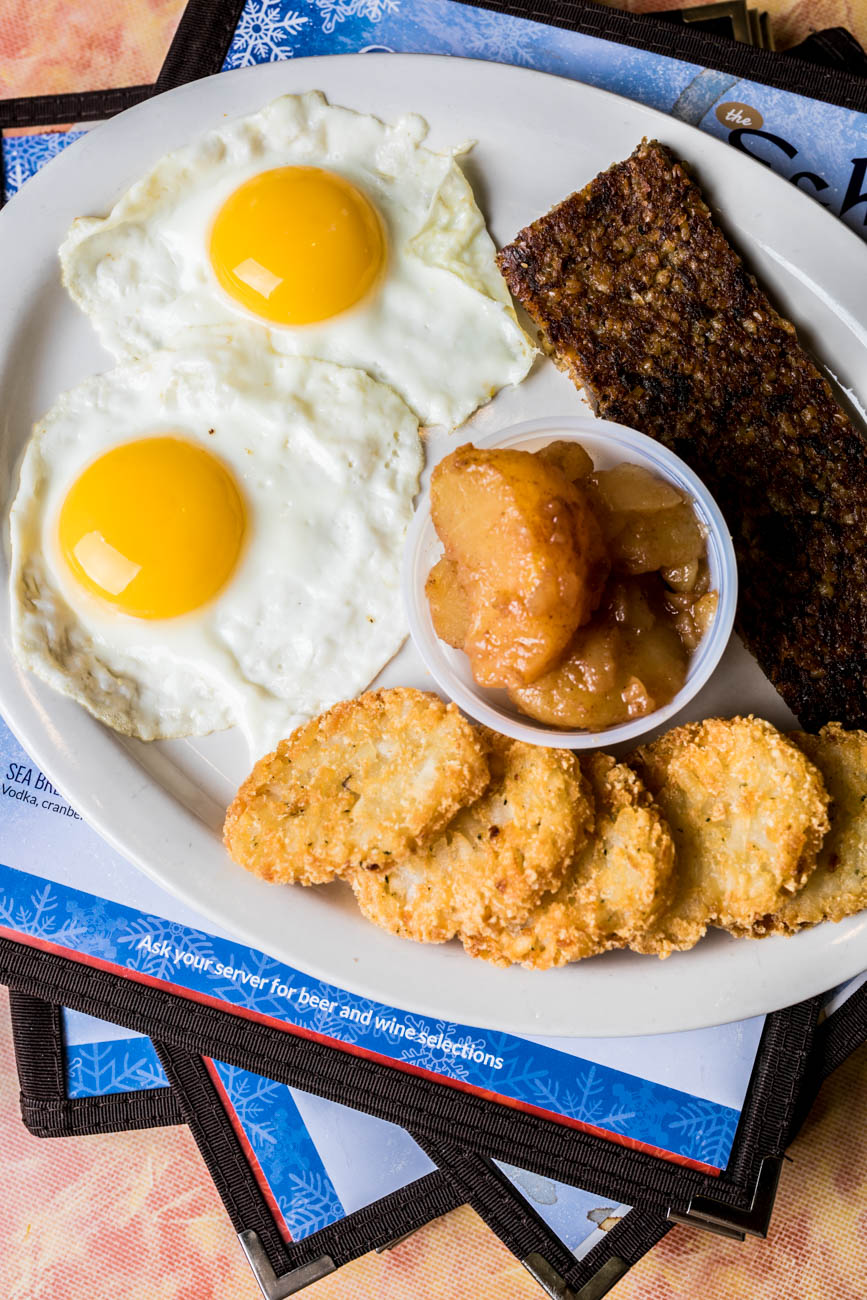 Glier's German Greats: two eggs, goetta, potato cakes, baked apples, and your choice of toast or biscuit. / Image: Amy Elisabeth Spasoff // Published: 2.20.18<p></p>