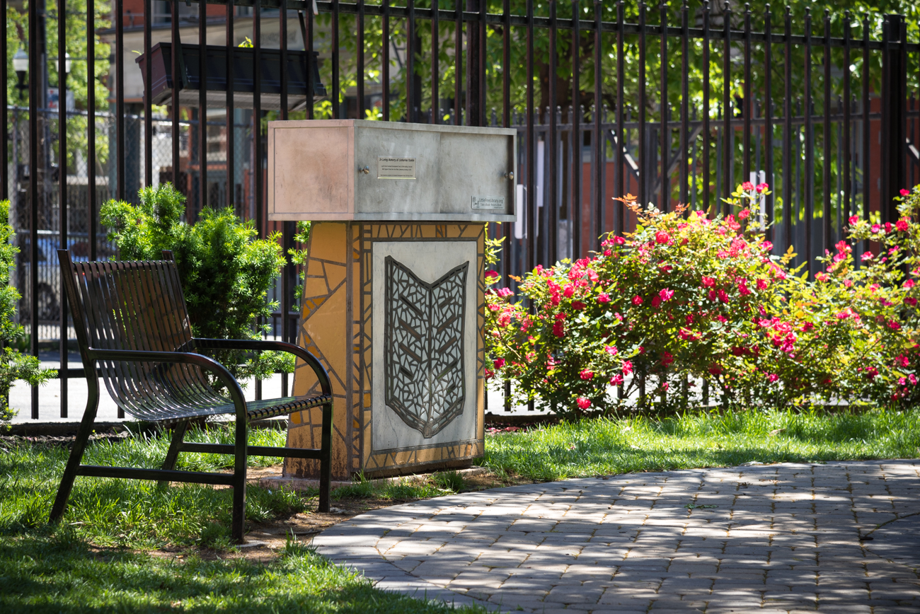 PARK: Catherine's Corner / LOCATION: Corner of 13th and Republic Streets in Over-the-Rhine / FUN FACT: This park has a Little Free Library right next to its single park bench. / IMAGE: Phil Armstrong, Cincinnati Refined // PUBLISHED: 5.8.17