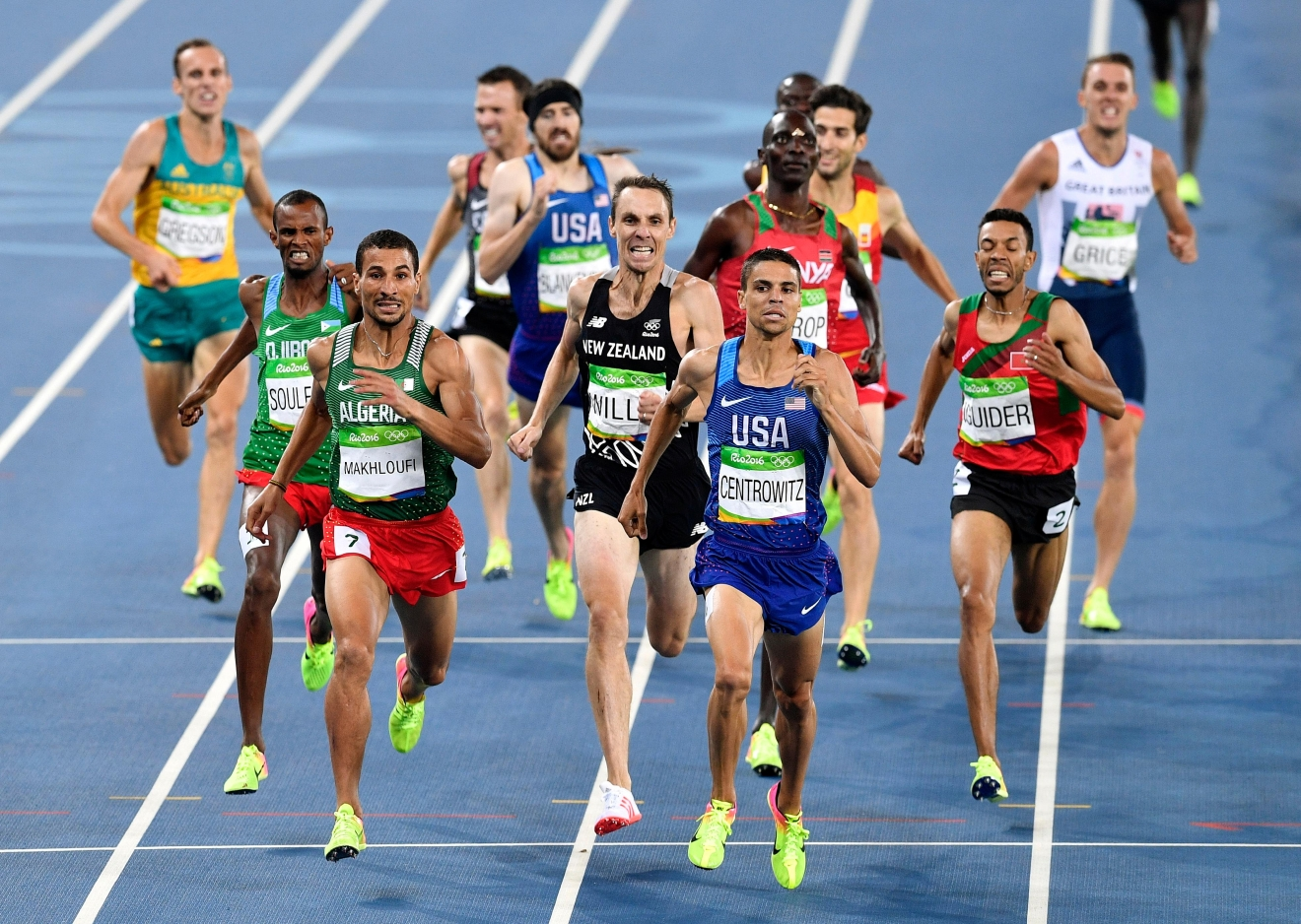 United States' Matthew Centrowitz, center right, Algeria's Taoufik Makhloufi, third left, and New Zealand's Nicholas Willis, center, compete in the men's 1500-meter final during the athletics competitions of the 2016 Summer Olympics at the Olympic stadium in Rio de Janeiro, Brazil, Saturday, Aug. 20, 2016. (AP Photo/Martin Meissner)