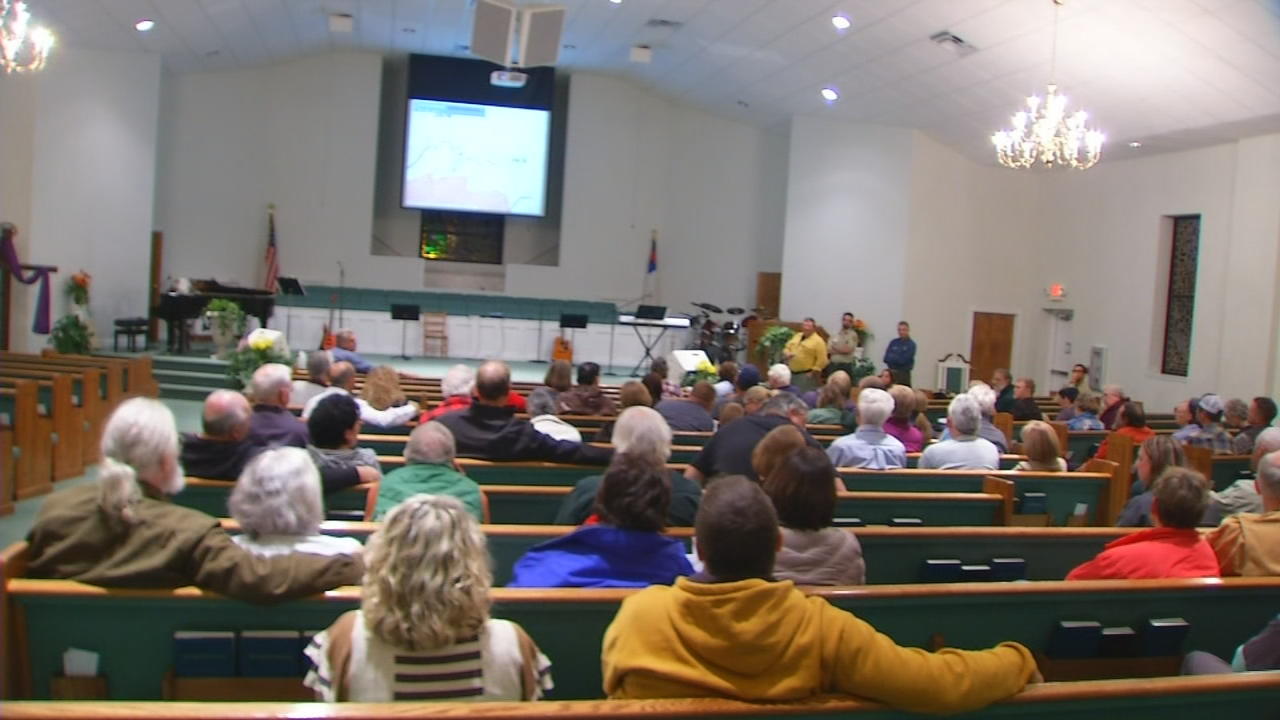 Residents gathered for a meeting on Tuesday night about the Clear Creek fire burning in McDowell County. (Photo credit: WLOS staff)