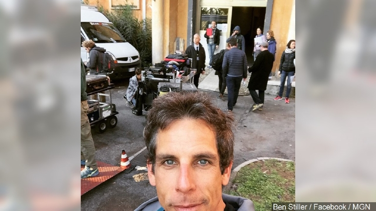 "Ben Stiller on the set of ""Zoolander 2"" on April 7, 2015. (Ben Stiller / Facebook / MGN)"