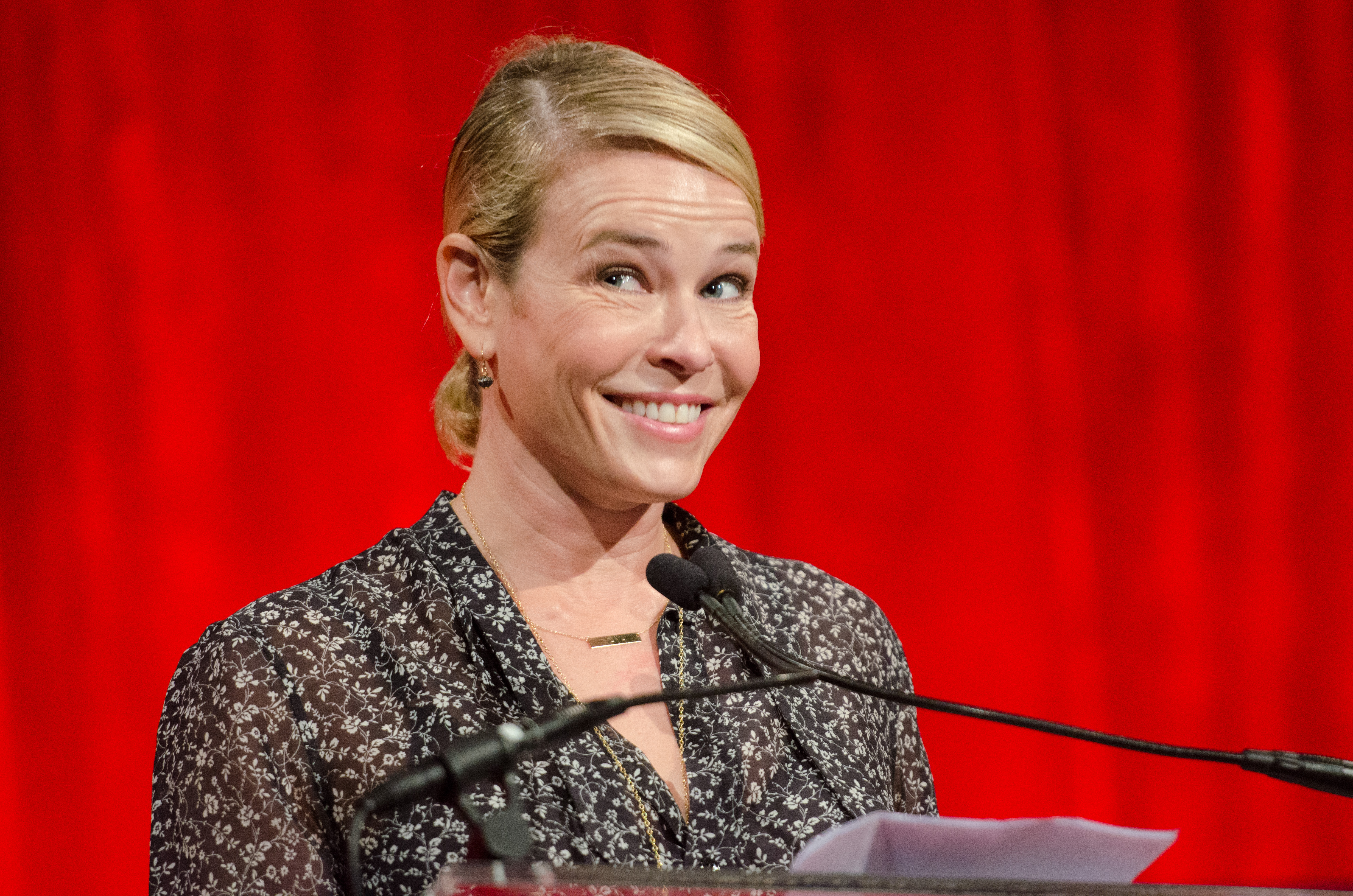 Chelsea Handler speaks at the Ms. Foundation for Women Gloria Awards at Cipriani 42nd Street on Thursday, May 1, 2014 in New York. (Photo by Scott Roth/Invision/AP)