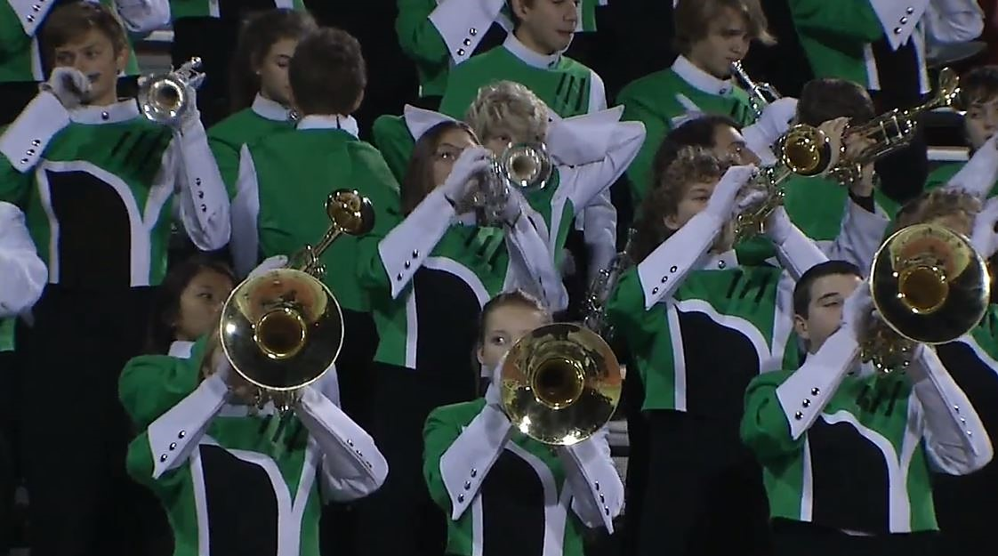 The Norman North band plays during the first round playoff game against Mustang on Friday, Nov. 11, 2016.  (KOKH)