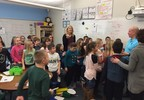 April White speaks to her third grade class at Suamico Elementary School Feb. 7, 2018, after being announced as a Golden Apple Award recipient.