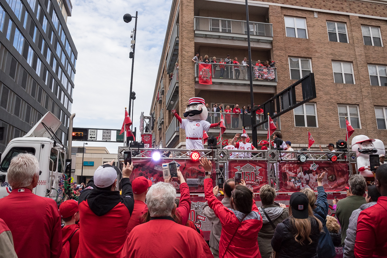 The 100th Annual Reds Opening Day Parade was held on Thursday, March 28, 2019. The parade started at Findlay Market and ended by the Taft Theatre on 5th Street. 2019 marked the 100th year for the Opening Day Parade, and the 150th anniversary of the founding of the Reds. The day ended with a 5-3 win for the Reds after they took on the Pittsburgh Pirates. / Image: Phil Armstrong, Cincinnati Refined // Published: 3.29.18