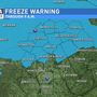 A Freeze Warning will remain in effect until 9 this morning