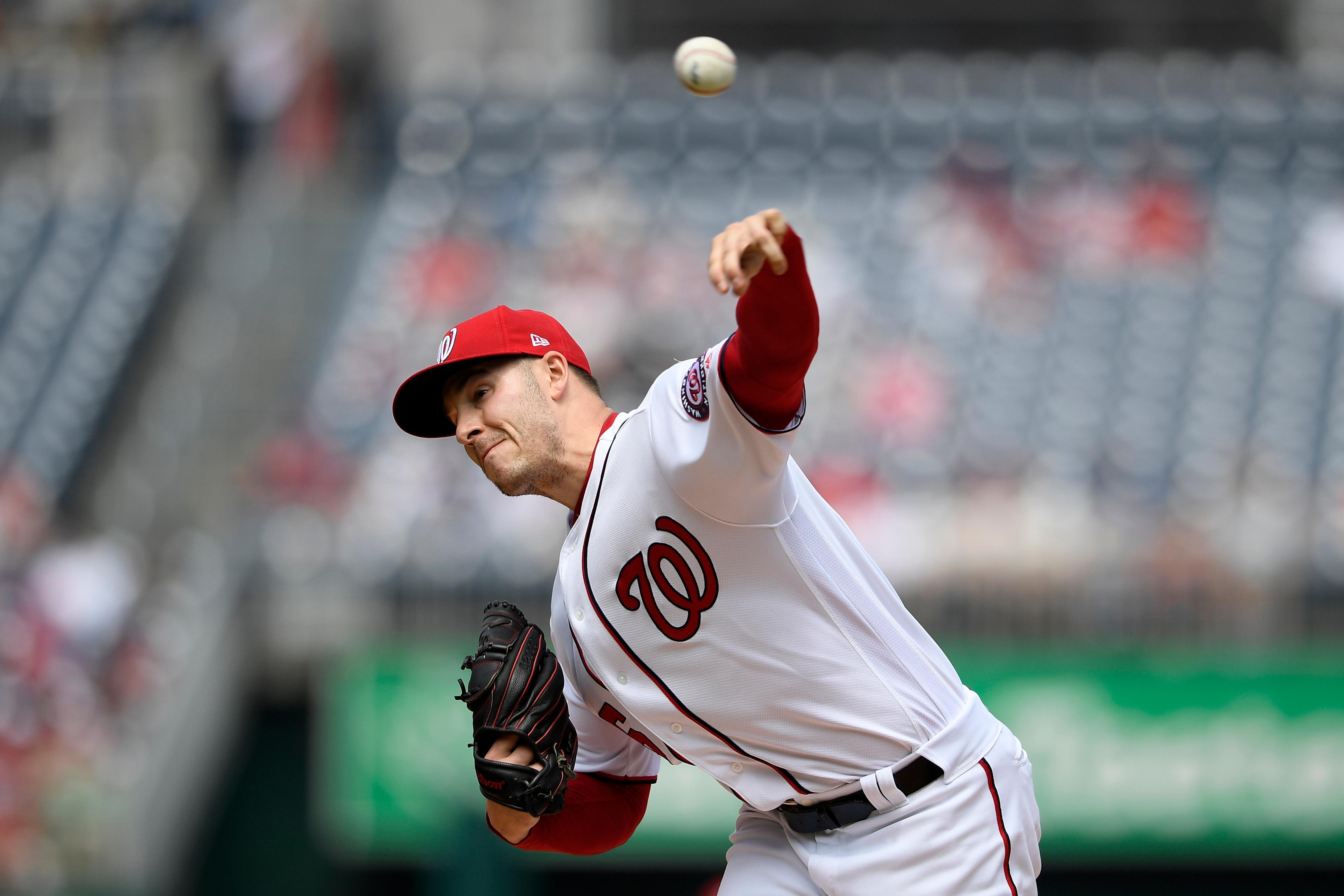 Washington Nationals starting pitcher Patrick Corbin delivers a pitch during the first inning of a baseball game against the San Francisco Giants, Thursday, April 18, 2019, in Washington. (AP Photo/Nick Wass)