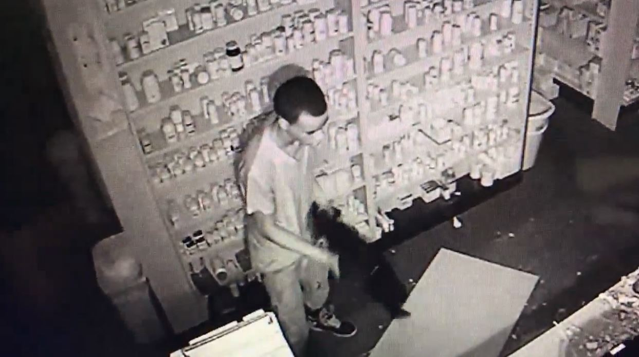 KFDM report: Surveillance video of burglar breaking into local pharmacy. (Port Arthur Police Department)