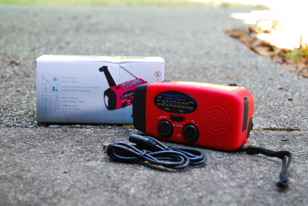A Hand-Crank Radio that triples as a radio and cell phone charger are an important part of your emergency preparedness kit. (Image: Rebecca Mongrain/Seattle Refined)